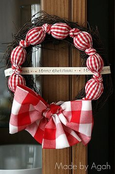 All About Gingham Christmas Wreath by made by agah, via Flickr