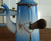 French Antique Coffee Pot, Enamelware