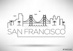 Illustration of San Francisco City Line Silhouette Typographic Design vector art, clipart and stock vectors. San Francisco Tattoo, San Francisco City, San Francisco Skyline, Travel Doodles, City Sketch, City Drawing, Skyline Silhouette, Usa Tumblr, Typographic Design