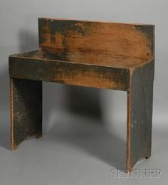 Blue Gray Painted Pine Dry Sink, New England, Early Mia Would Use