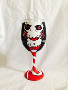 Jigsaw from Saw inspired hand painted wine by AWhimsicalHoot