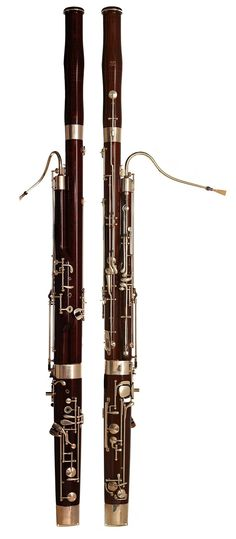 Photograph of a Renard Artist model 220 (long bore) Bassoon, made by Fox. The instrument is made of black maple, with silver-plated nickel silver keys. As other models from this brand, this basson has a german keying system.   Musical Instruments: Woodwinds - Double-reed