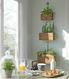 Hanging herb planters in the kitchen... I SO want this. Now.