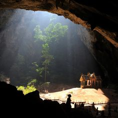Kuha Karuhas Pavilion in Thailand.  Following my love of foods stuffed into other foods, this is a picturesque temple stuffed into a cave --it's like spiritual Jalapeno-poppers!
