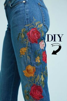 Update jeans with embroidery. Trash to Couture shows you how to do this with just a basic sewing machine.