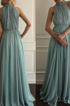 Chiffon Prom Dress,A-Line Prom Dress,High-Neck Prom Dress,Pleat Prom Dress