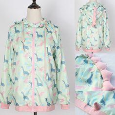 Fashion kawaii cartoon printing hooded coat