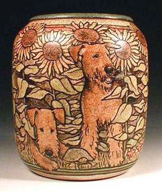 Hand Painted Pottery by Nan Hamilton, Airedale Dog Art in Boston MA Airedales in sunflower vase