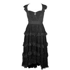 Black Flared Dress with Shoulder Straps