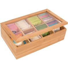 Shop for Trademark Innovations Bamboo 8-section Tea Storage Box with Clear Lid…