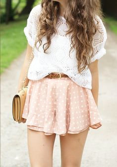 The shorts are a little too short, but I like the polka dots, crochet, and white with pastel color.