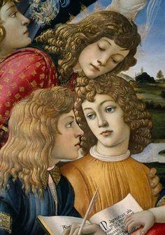 """""""Madonna of the Magnificat"""" (detail) 1481 -- Sandro Botticelli (Alessandro di Mariano di Vanni Filipepi) (1445-1510, Italian) -- Tempera -- Uffizi Gallery -- Florence, Italy"""