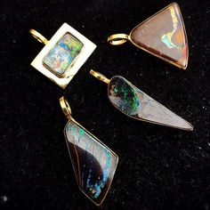 New boulder opal pendants are in ... Cut in our workshop and set in 24 Karat plated gold. @ Peninnah Opals 📐❤️🌈