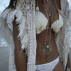 ☆ ☼ ☾ boho, white, beach, shells bra. ☽☼ ☆