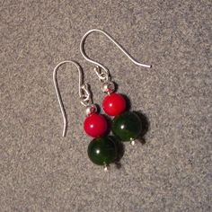 Green Jade, Red Coral & Sterling Silver Bead Fish Hook Pierced Earrings ~ Great Christmas Colors  ~ Christmas Holiday Earrings (No. 570) $19.79