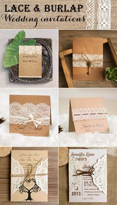 country rustic lace and burlap wedding invitations 2016 trends