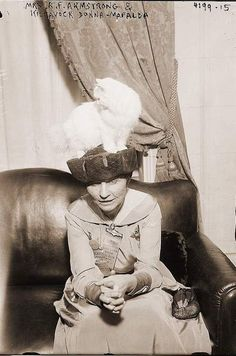 oh I have died and gone to cat heaven after finding this Woman On A Couch ... in 1915 (apparently)  with a cat on her head.  Come on down Catherine Hollens.