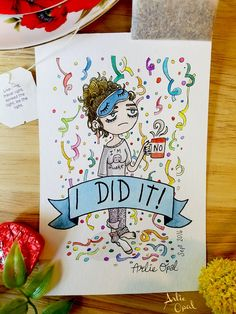 I Did It  Original Watercolor Painting by Arlie Opal by ArlieOpal
