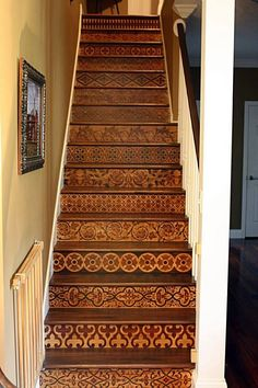I must do this to my stairs! Stencil Show-offs! Michele Molek of Fashionable Finishes stenciled her home's white stairs with paint, stain and various Modello® Designs masking stencils! SO gorgeous! Painted Staircases, Painted Stairs, Painted Floors, Stenciled Stairs, Staircase Painting, Tiled Staircase, Entryway Stairs, Wooden Stairs, Painted Wood