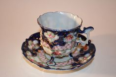 Handpainted Footed Teacup & Saucer | Vintage Duds and Decor