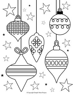 Free Printable Christmas Coloring Sheets for Kids and Adults - Simple Mom Project - Click now to print these cute, FREE Christmas coloring pages and sheets for the whole family; Christmas Coloring Sheets For Kids, Christmas Ornament Coloring Page, Printable Christmas Coloring Pages, Free Christmas Printables, Printable Crafts, Christmas Activities, Free Printable, Christmas Colors, Christmas Art