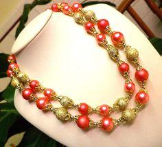 Vintage JAPAN Pink 2 Strand Beaded Necklace #Japan #StrandString