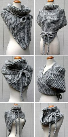 Knitting instructions for Easy Garter Stitch Wrap - Versatile scarf with . - Knitting ideas Knitting pattern for Easy Garter Stitch Wrap - Versatile shawl knit with garter stitch and I-cord ties can be worn in di. Crochet Diy, Crochet Gratis, Unique Crochet, Scarf Crochet, Crochet Ideas, Popular Crochet, Crochet Shawl Free, Knit Shrug, Knit Shawls