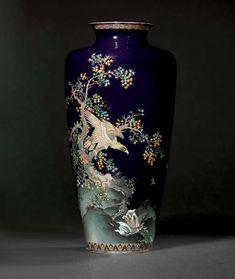 Flowers Vase, Maple Tree, 19th Century, Period, Enamel, Japan, Inspiration, Biblical Inspiration, Vitreous Enamel
