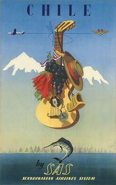 1951 De Ambrogio's Classic Travel Poster - Chile by SAS - http://retrographik.com/1951-de-ambrogios-classic-travel-poster-chile-by-sas/ - advertisement, air lines, Chile, classic, high resolution, tourism, transportation, travel, vintage