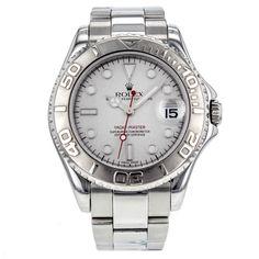 Rolex Yacht-Master 35mm 168622 Stainless Steel with Platinum Bezel Midsize Watch #Rolex #LuxurySportStyles