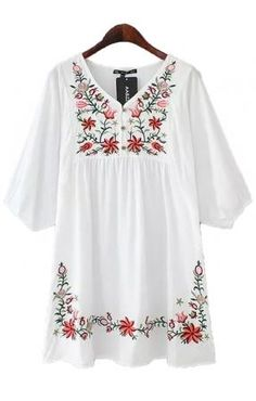 Love the Embroidery! Boho Chic Bohemian Style White Half Sleeve V-neck Print Casual Vintage Loose Button-up Cotton Dress.