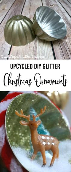 Upcycled DIY Glitter Christmas Ornaments Tutorial on Gorilla Spray Adhesive Christmas Ornament | DuctTapeAndDenim.com