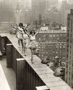Ballet dancers dancing on the roof of a skyscraper in New York City - 1925