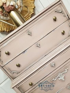 Vintage dresser painted with Dixie belle paint in tea rose over cotton with grun Distressed Furniture, Repurposed Furniture, Shabby Chic Furniture, Vintage Furniture, Italian Furniture, Paint Furniture, Furniture Makeover, Furniture Refinishing, Furniture Projects