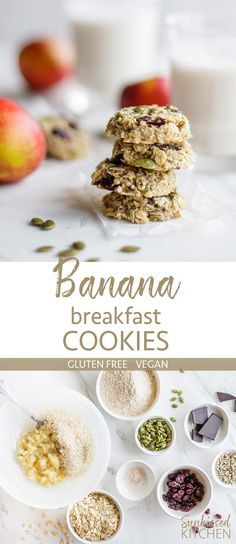 Banana Breakfast Cookies / These fun and delicious breakfast cookies are gluten free and entirely sweetened by banana. A healthy vegan breakfast cookie option.   SUNKISSEDKITCHEN.COM   #vegan #glutenfree #banana #breakfast #cookie