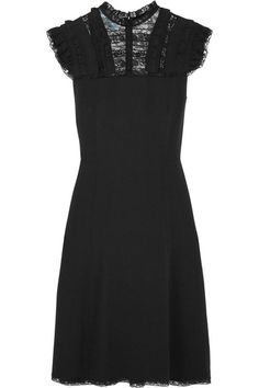 Black crepe and lace  Concealed hook and zip fastening at back  57% acetate, 43% viscose; trim: 46% cotton, 42% nylon, 12% viscose Dry clean Made in Italy