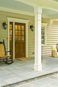 front porch with blue painted celling. Front Porch Columns, Porch Trim, Back Patio, Side Porch, Porch Flooring, Decks And Porches, The Ranch, House Front, House Colors