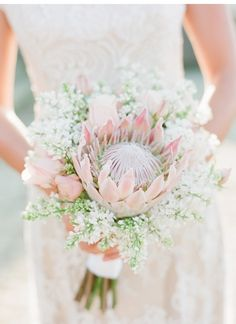 Rome Retreat: Bridal Shoot in Frascati, Italy {Buffy Dekmar} - blush protea bouquet Flor Protea, Protea Bouquet, Protea Flower, Eucalyptus Bouquet, Bridal Musings, Protea Wedding, Floral Wedding, Wedding Bouquets, Wedding Planning