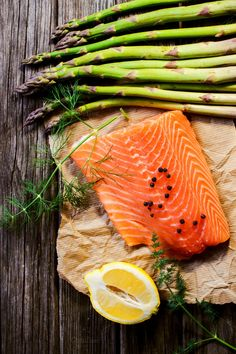 Salmon fillet with asparagus by TatianaFrank on @creativemarket