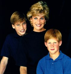 Princess Diana of Wales and her sons, Prince William and Prince Harry.
