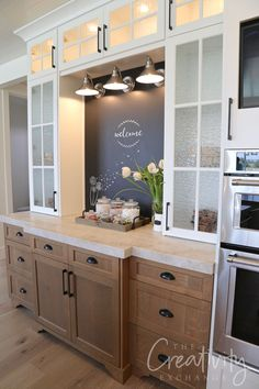 Home Remodeling Built in kitchen chalkboard - See our 2019 Salt Lake Parade of Homes recap highlighting some of the most beautiful new home trends, home decor ideas and lots of design ideas. Diy Kitchen Remodel, Kitchen Redo, Kitchen Dining, Kitchen Ideas, Kitchen Cabinets, Kitchen Counters, Kitchen Islands, Rustic Kitchen, Kitchen Furniture