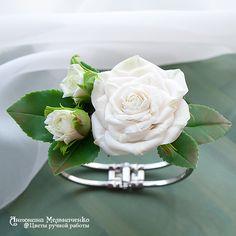 """Купить Браслет """"Белые розы"""" - Холодный фарфор, цветы ручной работы, полимерная глина"""