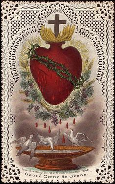 Sacred heart holy card. The heart drips holy blood into the bird bath and the birds...drink it?