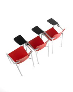 #Bio bench, by Josep Lluscà. #hospitality #school #red  Clearly aimed to provide comfort in large communal areas, all versions of the BIO can be stacked and have the possibility of incorporating a writing table. It also has a linking device system, which is perfect for creating joined rows of seating, both in educational establishments and in theatres and conference rooms too.  http://www.eneadesign.com/en/products/by_collection/bio/