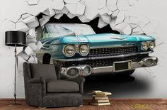 Efekt 3D z nutą Vintage. #Fototapeta #3d z aranżacji ➡ http://bit.ly/Blue-Vintage-Car … #Fototapety #oldtimer #murals #decor #wallmurals