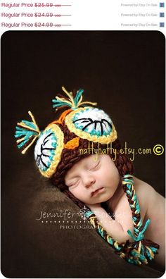 ON SALE Owl  handmade crochet Hat    Newborn to 5 by NattyHatty, $22.09