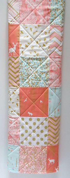 Modern Baby Girl Quilt-Woodland-Forest-Brambleberry Ridge-Coral Mint-Gold Shimmer-Deer Baby Blanket  Please allow a few days for completion and
