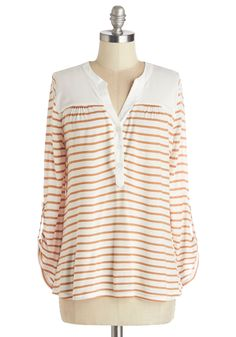 Craft Beer Tasting Top - Knit, Mid-length, Stripes, Casual, Long Sleeve, White, Tab Sleeve, White, Brown