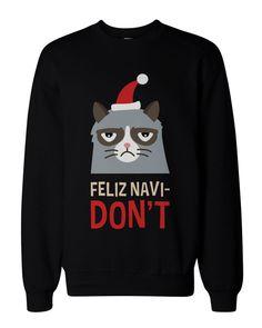 Funny Grumpy Cat Holiday Graphic Sweatshirts - Unisex Black Pullover Sweater #Handmade #SweatshirtCrew