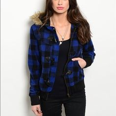 Juniors plaid jacket New with tags juniors size small plaid jacket ( blue & black ) Jackets & Coats